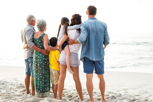 Rear view of a happy family posing at the beach