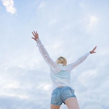 Carefree woman enjoying freedom.