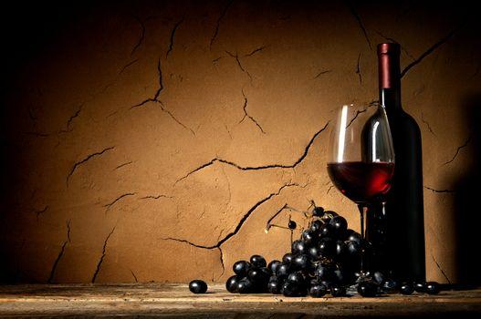Ripe grape and wine