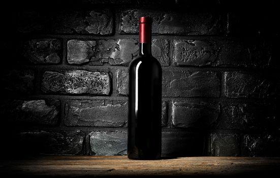 Wine and wall of bricks