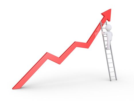 Businessman is climbing on a ladder to reach the top of the graph
