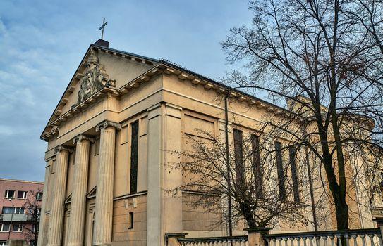 Neoclassical facade Catholic church in Poznan