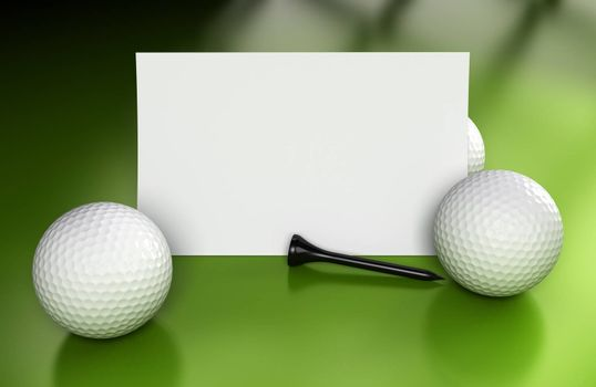 Golf sign or business card over green background with three balls and a black tee. Image suitable for communication or invitation card