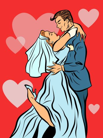 The bride and groom married wedding card pop art line art retro comic. Love and romance vector illustration. Heart background