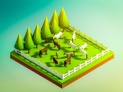 animals in the landscape, isometric view,  isometric background