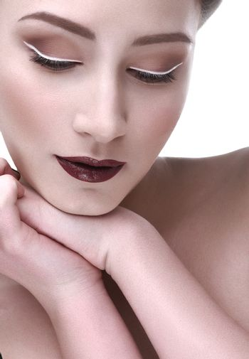 sophisticated makeup and bright lips