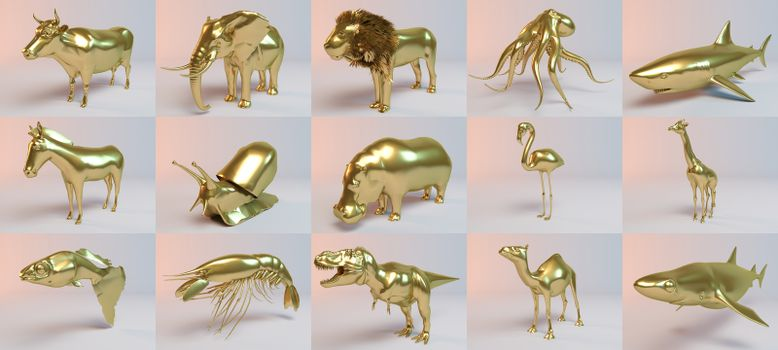 Golden 3D animals collection inside a stage with high render quality to be used as a logo, medal, symbol, shape, emblem, icon, business, geometric, label or any other use