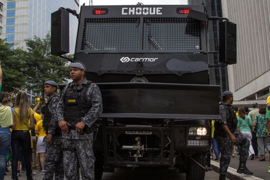 Sao Paulo Brazil March 13, 2016: A couple of unidentified police