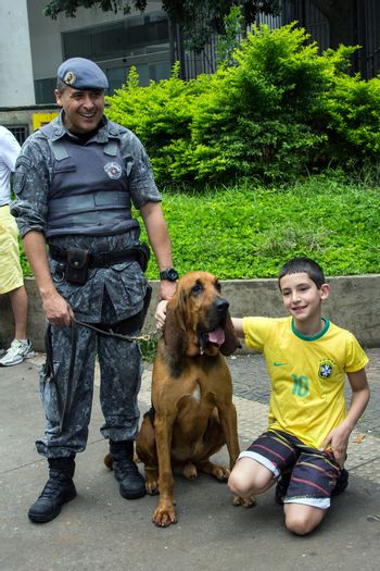 Sao Paulo Brazil March 13, 2016: One unidentified police officer