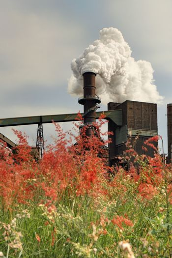 Steel Mill Smelter emitting toxic fumes from chimney