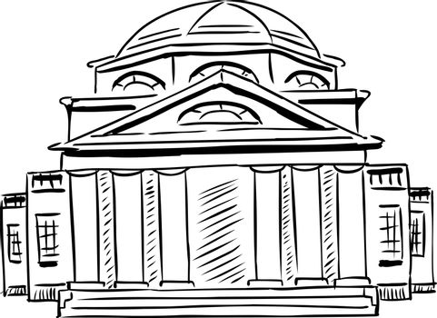 Outlined neoclassical building with obscured doorway