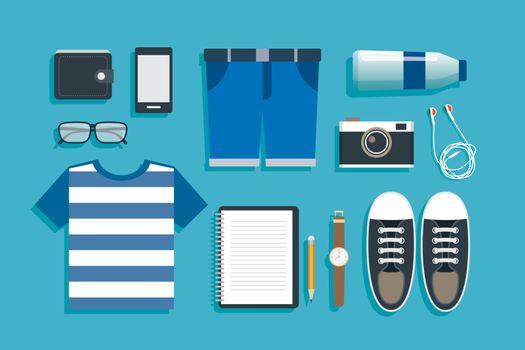 teenage travel accessories flat design