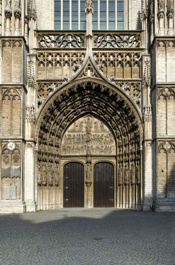 Main portal at the cathedral of Our Lady in Antwerp