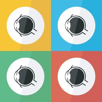 Eye icon ( Flat design ) for eye care , disease concept ( Glaucoma Cataract Pterygium Pinguecula Conjunctivitis Keratitis etc) Eye anatomy ( conjunctiva cornea iris lens pupil vitreous humor nerve )