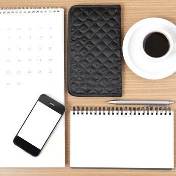 desktop : coffee with phone,notepad,wallet,calendar