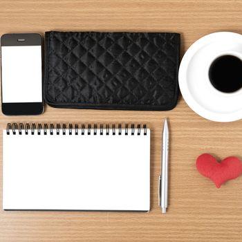 desktop : coffee with phone,notepad,wallet,heart