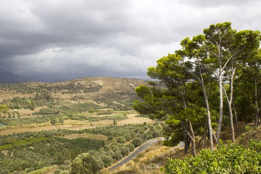 Landscape of Messara Valley situated on the southwestern part of Heraklio - Greece