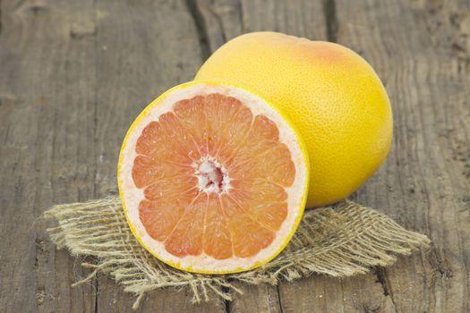 grapefruit on wooden background