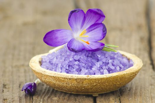 bath salt and crocus flowers