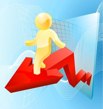 Business concept of a gold man riding an arrow like that on a graph showing growth or profit