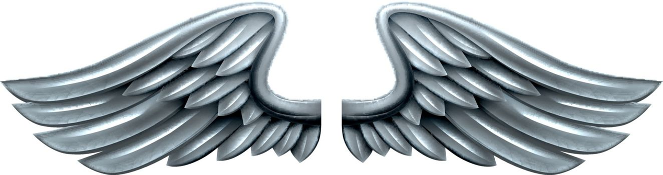 A pair of silver steel shiny metal wings design