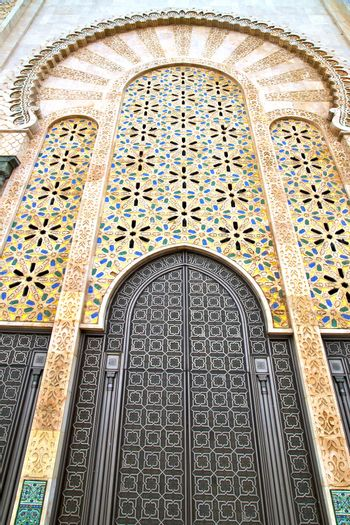 historical marble  in  antique building door morocco      style