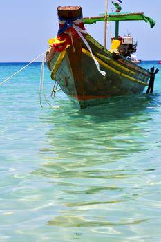boat prow asia  the  kho tao bay isle white