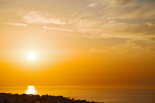 in santorini hill    greece sunset and