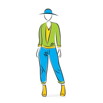 stylish pose on fashion model design vector