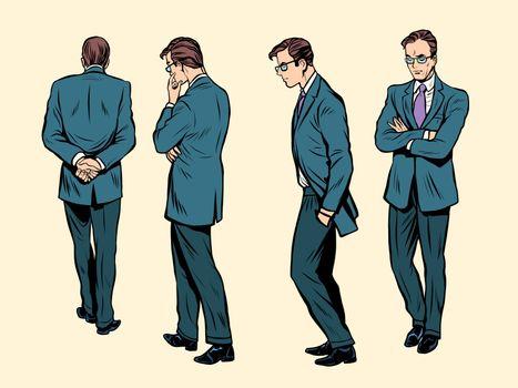 Poses of a walking human thinking