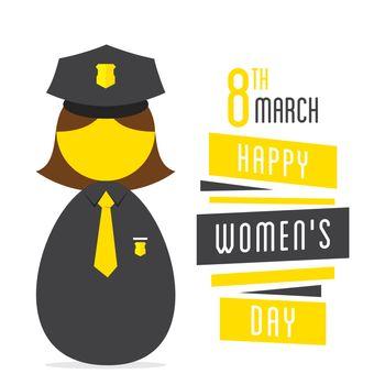 happy womens day,women police profession design