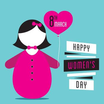 happy womens day, cute girl with heart shape balloon in hand design