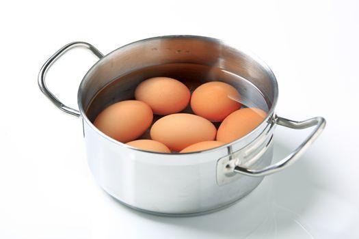 Eggs in a saucepan