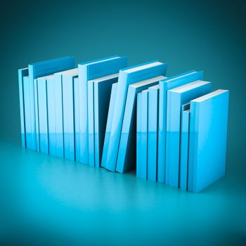 Stack of new books on a blue background