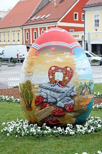 Big naive painted Easter eggs in front of the Cathedral,1,Zagreb,Croatia,EU,2016.