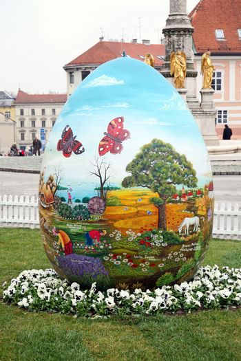 Big naive painted Easter eggs in front of the Cathedral,2,Zagreb,Croatia,EU,2016.