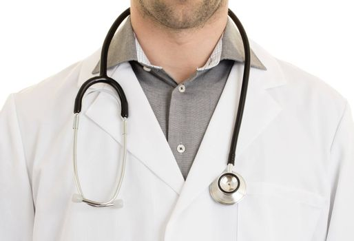 Close up of male doctor with stethoscope, isolated on white