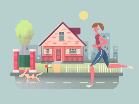 Woman run with dog on street