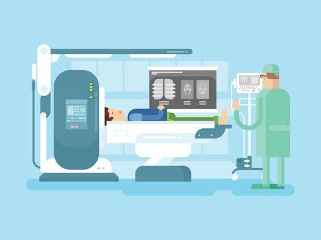 Cabinet with an MRI device. Medical hospital, machine equipment scanner, medicine scan, vector illustration