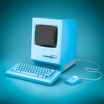 Beautiful vintage computer on a blue background