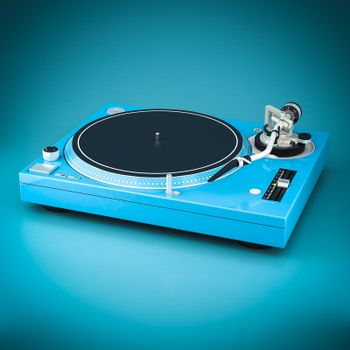 Beautiful DJ player on a blue background