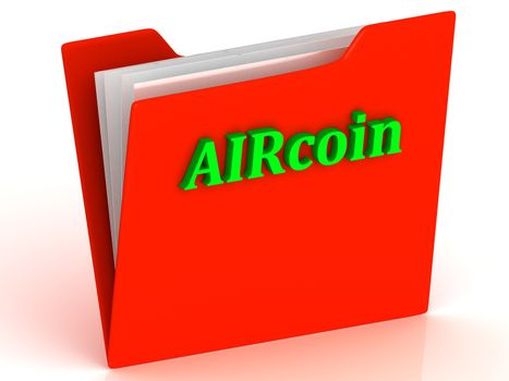 AIRcoin- bright green letters on a gold folder on a white background