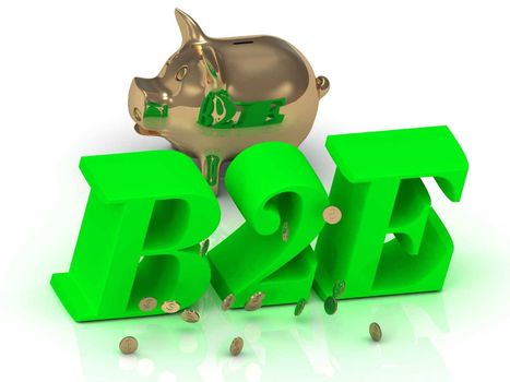 B2E - big bright green word, gold Piggy and money on white background