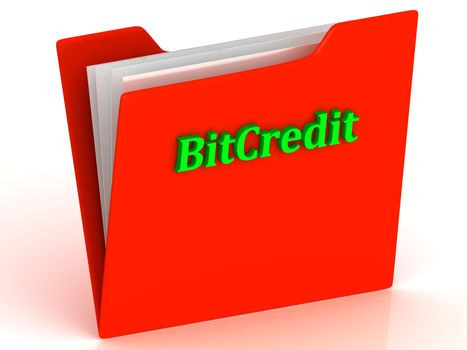 BitCredit- bright green letters on a gold folder on a white background
