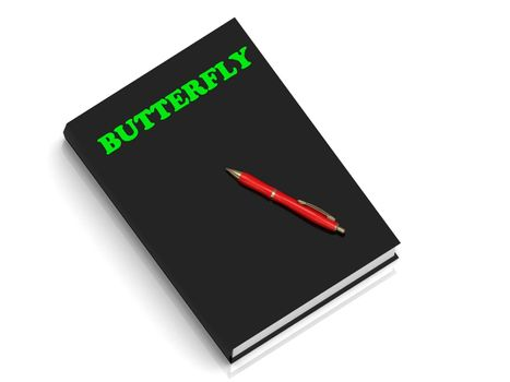BUTTERFLY- inscription of green letters on black book on white background