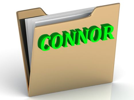 CONNOR- bright green letters on gold paperwork folder on a white background