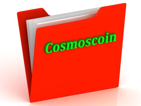 Cosmoscoin- bright green letters on red paperwork folder witch paper list on a white background