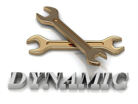 DYNAMIC- inscription of metal letters and 2 keys on white background