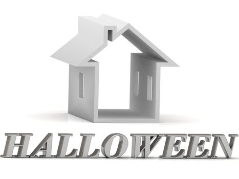 HALLOWEEN- inscription of silver letters and white house on white background