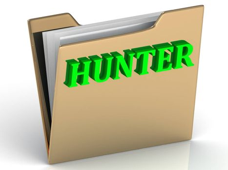 HUNTER- bright green letters on gold paperwork folder on a white background
